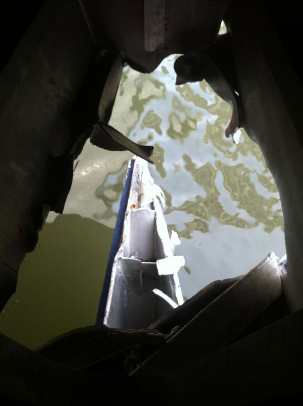 Looking through the massive hole in the starboard bow of the ferry which crashed this morning